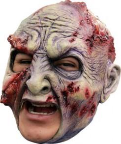 Halloween-Maske faulender Zombie beige-rot