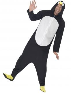 Pinguin Kostüm für Erwachsene schwarz-weiß-gelb