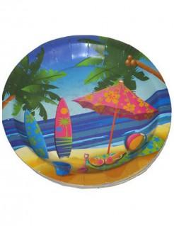 Pappteller Hawaii Partyzubehör 8 stück bunt