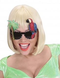 Hawaii Spaßbrille Papagei Kostümaccessoire Palme bunt