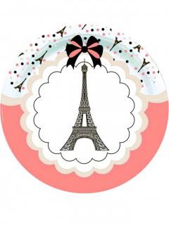 Pappteller-Set Eiffelturm 8 Stück bunt 23cm