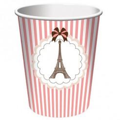 Eiffelturm-Trinkbecher Partydeko 8 Stück rosa-weiss 266ml