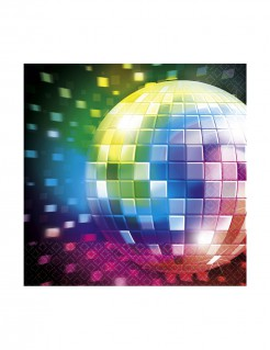 70er Disco Servietten Discokugel Party-Deko 16 Stück bunt 25cm