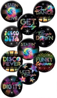 70er Disco Buttons Party-Gadget 10 Stück bunt 4cm