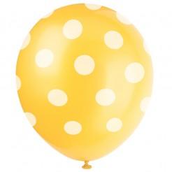 Luftballons Raumdeko 6 stück gelb-weiss gepunktet