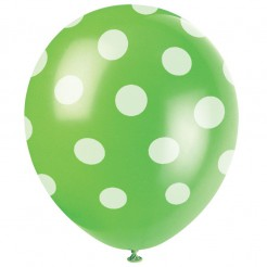 Latexluftballon grün mit weißen Punkten 6 Stück