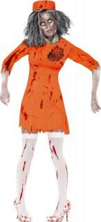 Zombie Verurteilte Halloween-Damenkostüm orange