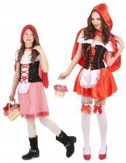 Rotkäppchen-Paarkostüm Mutter und Tochter Fasching rot-weiss-schwarz