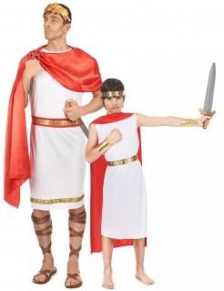 Römer-Paarkostüm Vater und Sohn Karneval weiss-rot-gold