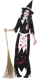 Zombie-Hexe Halloween-Damenkostüm schwarz-weiss-rot