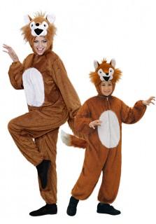 Fuchs-Paarkostüm Mutter-Kind braun-weiss