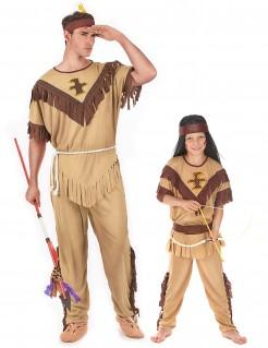 Indianer-Paarkostüm für Vater und Sohn braun-beigefarben