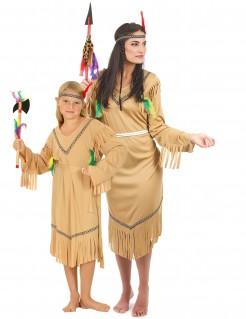 Indianerinnen-Paarkostüm Mutter-Tochter bunt