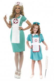 Krankenschwester-Paarkostüm Mutter-Tochter grün-weiss-rot