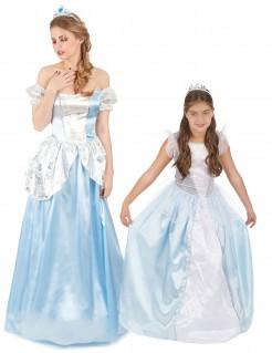 Prinzessin-Paarkostüm für Mutter und Tochter blau-weiss