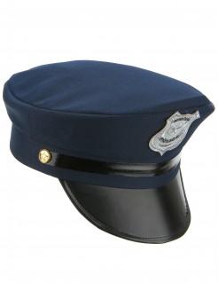 Polizeihut Kostüm-Accessoire blau-schwarz-silber