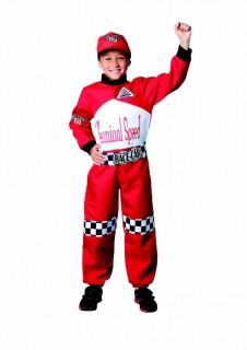 Rennfahrer Kinderkostüm für Jungen rot-schwarz-weiss