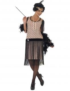 20er Charleston Can Can Jazz Damenkostüm Fransen schwarz-rosa