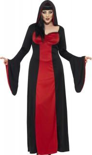 Dunkle Hexe Halloween Damenkostüm schwarz-rot