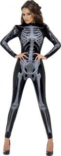 3D Skelett Halloween Damenkostüm schwarz-grau