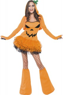 Sexy Kürbis Halloween Damenkostüm orange-schwarz