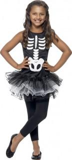Skelett-Tutu Halloween Kinderkostüm schwarz-weiss
