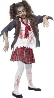 Zombie-Schulmädchenkostüm für Kinder Halloween Kinderkostüm grau-weiss