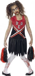 Zombie Cheerleader Halloween Kinderkostüm rot-schwarz