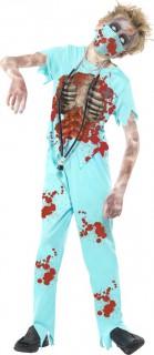 Zombie Chirurg Halloween Kinderkostüm hellblau