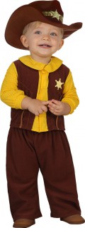 Baby Kleinkind Cowboy Kostüm braun-gelb