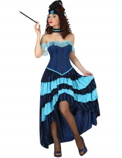 CanCan Saloon Showgirl Damenkostüm Wildwest blau