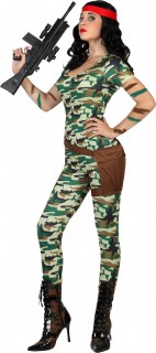 Soldatinnenkostüm Militär-Damenkostüm grün-braun