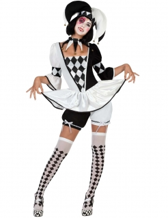 Damen Kostüm Clown Hofnarr Harlekin weiss-schwarz