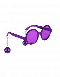 Lustige Discokugel Brille lila