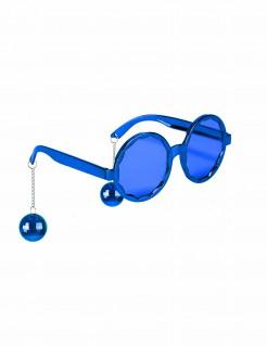 Lustige Discokugel Brille blau