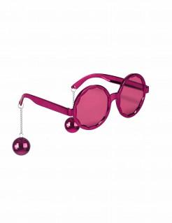 Lustige Discokugel Brille pink