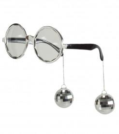 70er Disco Brille silber