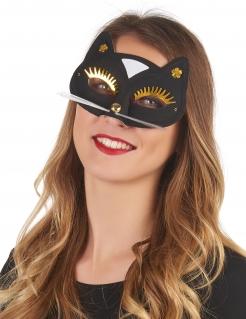 Katzen-Halbmaske in Schwarz für Erwachsene