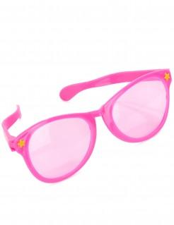 Riesige Brille mit Sternchen rosa-gelb