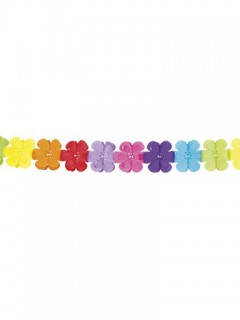 70er Hippie Blumen Girlande Flower Power bunt 4m