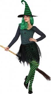 Freche Spinnen-Hexe Damenkostüm Zauberin grün-schwarz