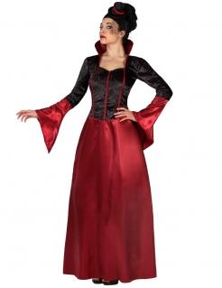 Elegante Vampirin Halloween-Damenkostüm schwarz-rot