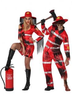 Feuerwehr-Zombie-Paarkostüm rot-schwarz-weiss