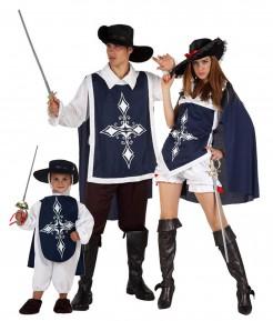 Musketier Gruppenkostüm Vater, Mutter, Kind blau-schwarz-weiss