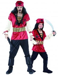 Piraten-Paarkostüm für Vater und Sohn schwarz-rot-gelb