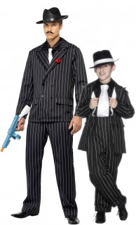 Mafia-Gangster Paarkostüm Vater-Sohn