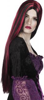 Lange Hexenperücke Halloween-Damenperücke schwarz-rot