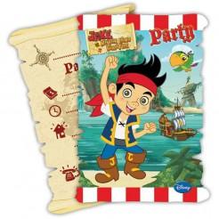 Jake und die Nimmerlandpiraten Einladungskarten und Umschläge Lizenzware 12-teilig bunt