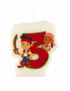 Geburtstagskerze 3 Jake und die Nimmerland Piraten Lizenzartikel bunt