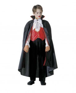Vampir Dracula Halloween-Kinderkostüm schwarz-grau-rot-weiss